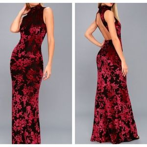 NWT Lulu's Black & Red Floral Backless Maxi Dress